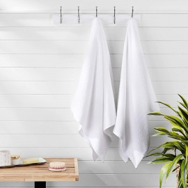 Bath towel long-staple cotton(Quick-Dry, Luxurious, Soft, 100% Cotton Towels, White ) (30 x 55 Inches)(pack of 10)